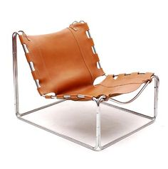 "Botterweg Auctions Amsterdam > Armchair "" Fabio "", chrome tube with thick leather seat, design by Pascal Mourgue 1970, executed by Steiner / France"