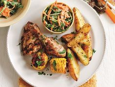 photograph of the healthy cajun chicken with spicy potato wedges and coleslaw recipe