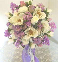 magnolia wedding | magnolia lilac garden bouquet this silk bridal bouquet is so realistic ...
