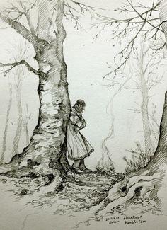On the road (Kili) by evankart Landscape Sketch, Landscape Drawings, Landscape Art, Pencil Art Drawings, Art Drawings Sketches, Ink Illustrations, Illustration Art, Fili Und Kili, Tree Sketches