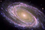 The perfectly picturesque spiral galaxy known as Messier or NGC Bode's Nebula, looks sharp in this new composite from NASA's Spitzer and Hubble space telescopes and NASA's Galaxy Evolution Explorer. Cosmos, Portal, Spiral Galaxy, Hubble Space Telescope, After Life, To Infinity And Beyond, Milky Way, Night Skies, Science Nature
