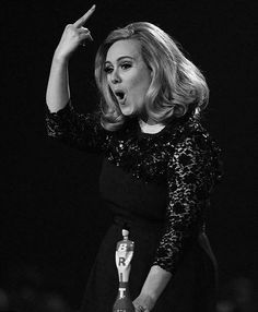 Adele cut off while giving an acceptance speech.
