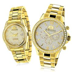 His and Hers Watches: Yellow Gold Plated Luxurman Diamond Watch Set 3.5ct