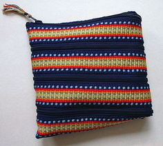 Inkle band zippered spiral change purse