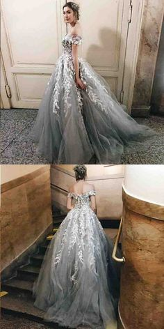 Prom Dresses Beautiful, A-Line Off the Shoulder Sweep Train Grey Prom Dress with Appliques, Looking for the perfect prom dress to shine on your big night? Prom Dresses 2020 collection offers a variety of stunning, stylish ball. Grey Prom Dress, A Line Prom Dresses, Perfect Prom Dress, Tulle Prom Dress, Homecoming Dresses, Lace Dress, Gray Gown, Dress Party, Long Dresses