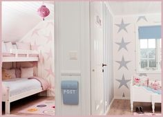 Trendoffice: A girl and a boy sharing a kids' room. The closets are the room divider. Keep shared space, get rid of existing closet and awkward nook to build the divider. Pete! Just found your next project!!