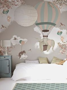 Modern vintage style animal and balloons mural wallpaper in soft pastel colors creates a delightful accent wall in the kid's room - Unique baby Nursery Ideas & Children's Bedroom Decor - Little Hands Wallpaper Mural Baby Bedroom, Girls Bedroom, Bedroom Decor, Room Baby, Bedroom Ideas, Little Hands Wallpaper, Baby Wallpaper, Children Wallpaper, Wallpaper For Kids Room