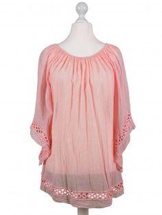 Damen Tunika mit Häkelspitze, rosa