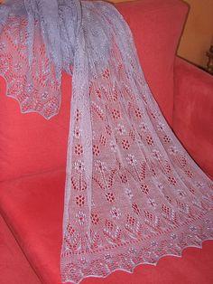 Estonian Lace shawl free knitting pattern: Katbry's Spring: Lilac Flowers & Butterflies