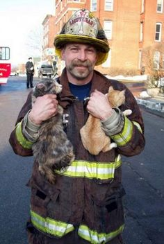 "Hands Full. Fire Lt. John L. Carlson climbed a ladder and coaxed two reluctant cats to come out to him. ""Here kitty, kitty,"" Lt. Carlson said. ""Come 'ere, kitty."" One cat and one kitten eventually came out and Lt. Carlson tucked them into his coat to climb down the ladder. 