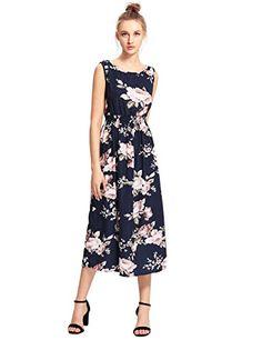 MakeMeChic Women's Sleeveless Casual Swing Beach Summer Long Tank Dress Navy-Floral S