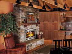 Mesmerizing Neutral Stone Superior Fireplace Ideas At Remarkable Wooden Ceiling Beam Design For Calm Wooden Kitchen Room Ideas, Homestoreky.com - Best Interior Design and Decorating Ideas