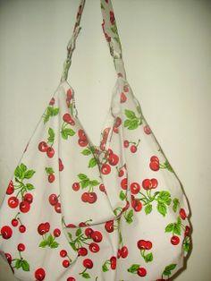 So Retro Rockabilly Cherries Slouch HObo Bag