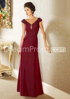 Princess Deep Coral V Neck Floor-length Prom Dresses