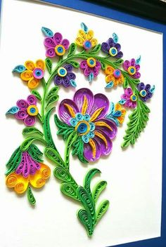 Bright Floral Piece - quilled by: Jennifer Stacey