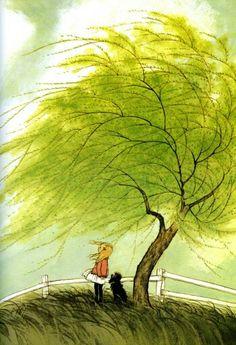 Blustery Spring day Illustration by Gyo Fujikawa
