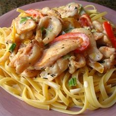 Cajun Chicken Pasta - Allrecipes.com - One reviewer suggested cooking the chicken & peppers, removing it, then making a roux-based sauce. Sounds like a good idea. I'd rather a thicker sauce over a thinner one.