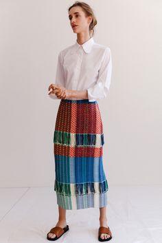 Ports 1961 | Resort 2016 | 22 White 3/4 sleeve shirt and multicolored fringed midi skirt