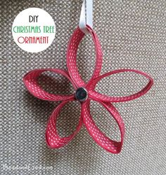 DIY Christmas Tree Ornament Using Paper Towel Roll and Ribbon
