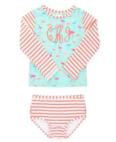 RuffleButts Little Girls Blue Seersucker 2 Piece Swimsuit with Open Back Top