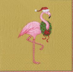 Caspari Christmas Flamingo Gold Holiday Bird Printed 3-Ply Paper Cocktail Beverage Napkins Wholesale 13361C