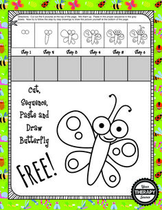 Cut, Sequence, Paste and Draw Butterfly - perfect for Spring time and encourages scissor practice, fine motor skills, sequencing and visual motor skills. Language Activities, Motor Activities, Craft Activities For Kids, Sequencing Activities, Kids Crafts, Scissor Practice, Scissor Skills, Pediatric Occupational Therapy, Pediatric Ot