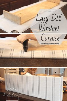 A well dressed window can make or break any room design. Create a custom window cornice with this quick and easy tutorial. Window Cornice Diy, Window Cornices, Window Coverings, Valances, Easy Window Treatments, Pelmet Box, Valences For Windows, Rideaux Design, Diy Plaster