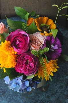 What a pop of color in this arrangement.