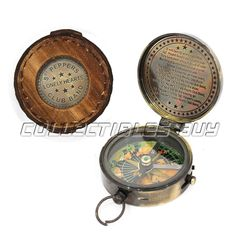 Clever Edward Pocket Leather Case Compass Rustic Brass Handmede Navigation Tool Antiques
