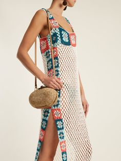 My Beachy Side Bisou Square-neck Crochet-knit Cotton Maxi Dress In White Multi Parte Superior Del Bikini, Crochet Halter Tops, Beach Wear Dresses, Crochet Clothes, Chic Outfits, Boho Fashion, Beachwear, Knitwear, Clothes For Women