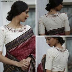 Shop now from our exclusive range of blouses! Have a look at our White Kerala Necklace blouse priced at INR Blouse Back Neck Designs, Cotton Saree Blouse Designs, Blouse Patterns, Trendy Sarees, Beautiful Blouses, Beautiful Saree, Blouse Models, Indian Designer Wear, Clothes For Women