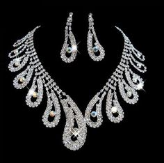 Chinese Style Peacock Tail Designs Crystal Rhinestone Necklace Earrings Fashion Jewelry Sets Party Wedding Accessories B18 US $7.21