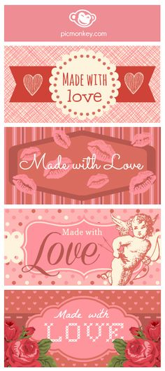 Make some goodies for your valentine and add a label. Create a sheet of label backgrounds using the Swatches in PicMonkey's Collage app. Save it somewhere handy on your computer. Then open it in PicMonkey's Editor and add overlays and text from our Sweethearts theme.