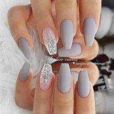 We collected more than 50 trendy glitter coffin nails style for you. If you are looking for coffin idea, you can read this article. Cute Acrylic Nail Designs, Best Acrylic Nails, Nail Art Designs, Nails Design, Gray Nails, Silver Nails, Silver Glitter, Manicure E Pedicure, Pedicures