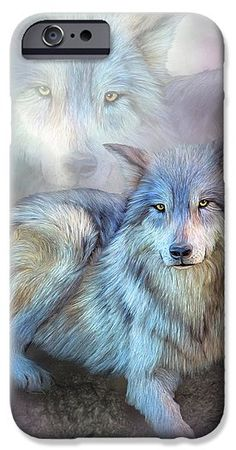 Wolf In The Mist phone case  featuring the art of Carol Cavalaris. Art Phone Cases, Iphone Case Covers, Large Beach Towels, Us Beaches, Mists, Wolf, Painting, Tattoo, Fictional Characters