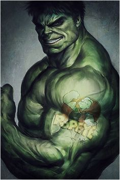 Hulk for fun by `Artgerm on deviantART. NOT a Hulk fan, but I *am* a fan of Artgerm's work. I thought this was really cute to have Hulk with a Popeye tattoo! Hulk Marvel, Marvel Comics, Marvel Heroes, Hulk Avengers, Hulk Hulk, Anime Comics, Comic Art, Comic Kunst, Comic Books Art