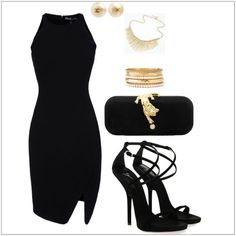 V neck black dress accessories 4 u Date Outfits, Black Dress Outfits, Dinner Outfits, Night Outfits, Dress Black, Skirt Outfits, Casual Summer Dresses, Trendy Dresses, Elegant Dresses