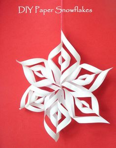 Simple, easy to do paper snowflakes.  You can make this 6 wing snowflakes and use it to decorate your Christmas tree or hang it on the window.