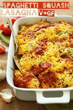 HEALTHY Spaghetti Squash Lasagna Bake! 10 ingredients, plant-based, SO delicious! #vegan #glutenfree #lasagna #recipe #fall #healthy #recipe