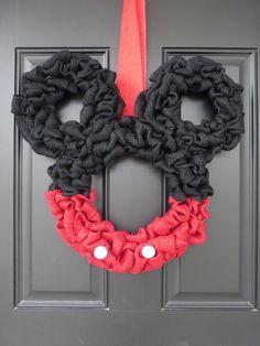 Disney Inspired Mickey Mouse Burlap Door Wreath by BenvenutiACasa on Etsy https://www.etsy.com/listing/230492613/disney-inspired-mickey-mouse-burlap-door