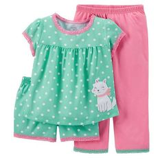 Carters Girls Jersey PJs Dog Dot Mint Pajama Set Polka dots and a cute applique are sure to bring sweet dreams to your girl. Plus, she can wear shorts or pants depending on the weather! Toddler Pajamas, Baby Girl Pajamas, Carters Baby Girl, Baby Girls, Toddler Girl Outfits, Baby & Toddler Clothing, Kids Outfits, Toddler Girls, Dog Clothing
