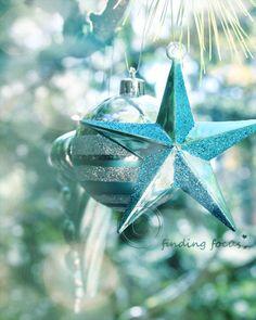 Aqua Turquoise Christmas Star Photo, Retro Xmas Vintage Holiday Tree Ornaments Dreamy Blue Glittery Winter Bokeh 8x10 Shabby Art Photograph. $28.00, via Etsy.