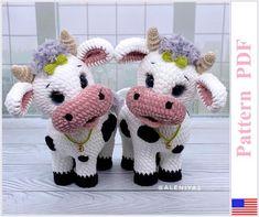 Crochet Cow, Kawaii Crochet, Crochet Patterns Amigurumi, Crochet Yarn, Cat Amigurumi, Crochet Dragon, Crochet With Cotton Yarn, Cow Pattern, Stuffed Animal Patterns