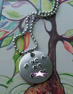 Handstamped NC as F Necklace  Personalize with by sassyfrassx3