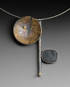 Neckpiece with jade - Roger Rimel Enamel Jewelry, Copper Jewelry, Pendant Jewelry, Jewelry Art, Jewelry Accessories, Jewelry Necklaces, Jewelry Design, Contemporary Jewellery, Modern Jewelry