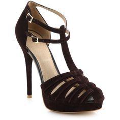 Joie Rexanne T-Strap Suede Platform Heels ($255) ❤ liked on Polyvore featuring shoes, pumps, sapatos, apparel & accessories, high heel shoes, high heel platform shoes, ankle strap pumps, platform shoes and almond toe platform pumps