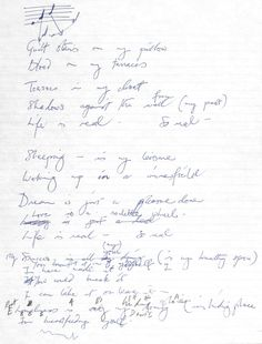 """marchoftheblack-queen:  """" Freddie's handwritten lyrics for Life Is Real, the song he wrote after John Lennon's murder - a tribute to one of his greatest heroes and influences.  — taken from Queen: The Complete Illustrated Lyrics  """""""
