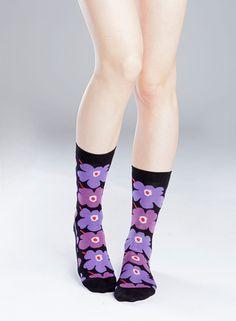 Hieta-sukat (musta, lila, purppura) |Asusteet, Sukat ja sukkahousut, Laukut & asusteet | Marimekko