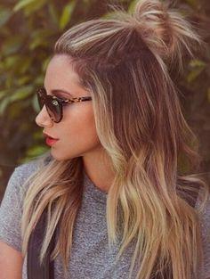 Half-bun | Ashley Tisdale | ELLE