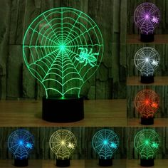 [$8.51] Cobweb Style USB Charging 7 Colour Discoloration Creative Visual Stereo Lamp 3D Touch Switch Control LED Light Desk Lamp Night Light, Product Size: 21.4 x 17.1 x 8.7 cm
